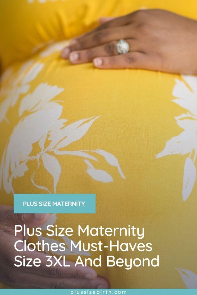 plus size pregnant woman wearing a yellow plus size maternity dress