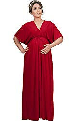 red plus size maternity flowy gown