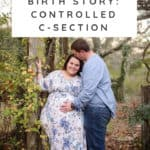plus size maternity photos of a couple with woman wearing Pink Blush maternity dress.