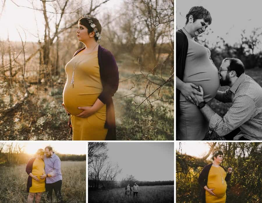 woman wearing Plus Size Maternity fitted dress being photographed outside