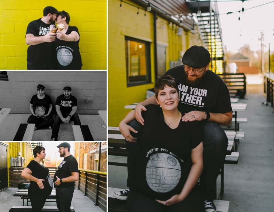 maternity photo shoot with the couple wearing Star Wars t-shirts