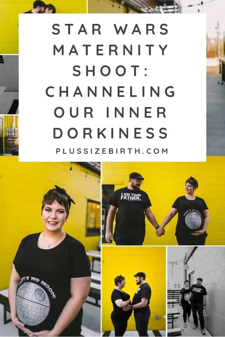 plus size maternity photo shoot couple wearing Star Wars shirts