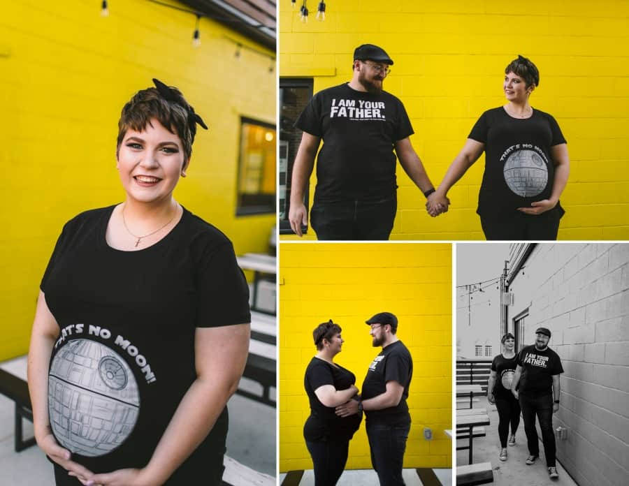 plus size maternity photo shoot with the couple wearing Star Wars t-shirts