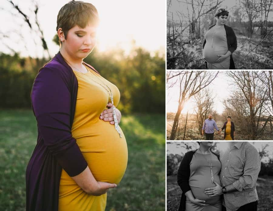 plus size maternity photo shoot outside with plus size woman in yellow fitted dress