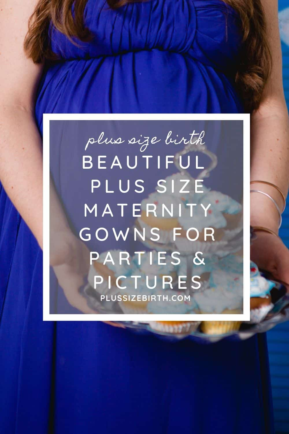 plus size woman wearing a maternity gown