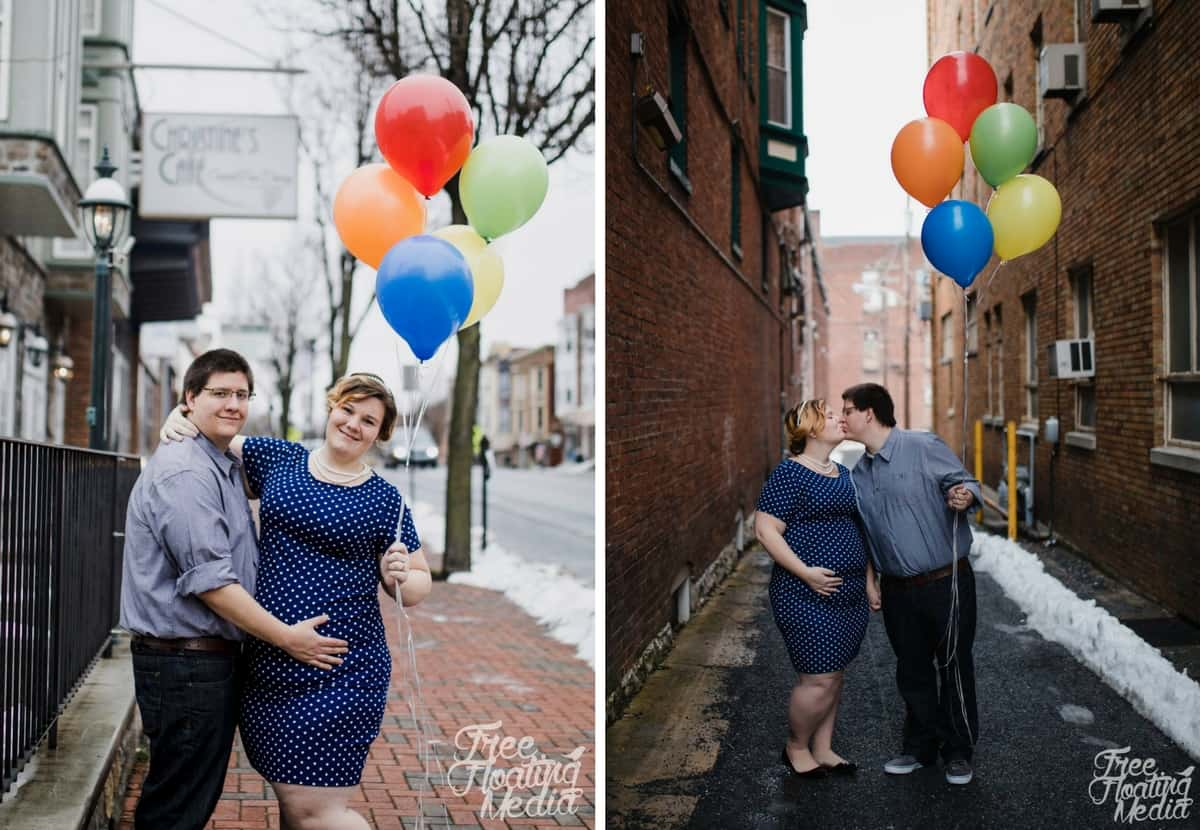 plus size maternity photos with balloons