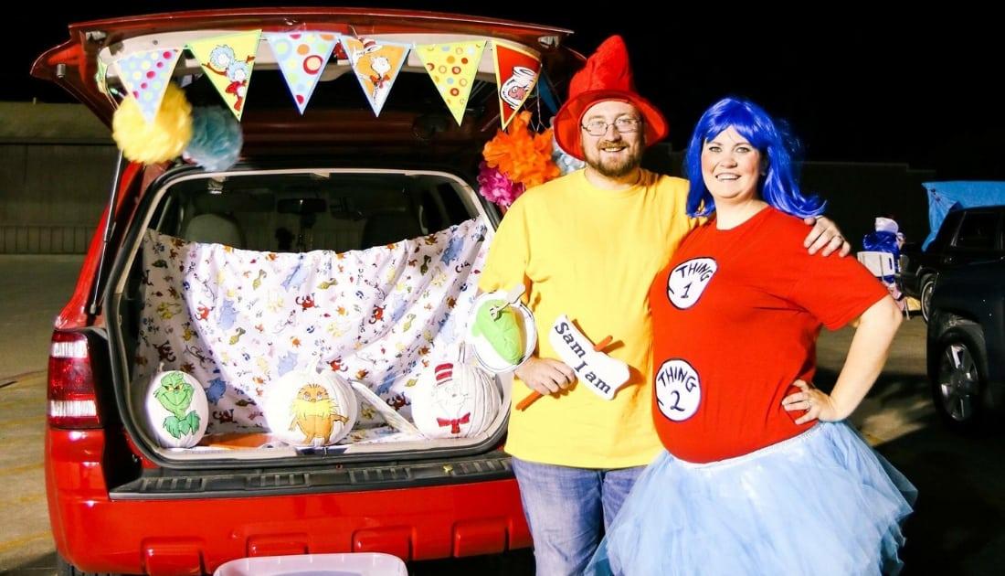 plus size couple wearing Dr. Seuss halloween costumes