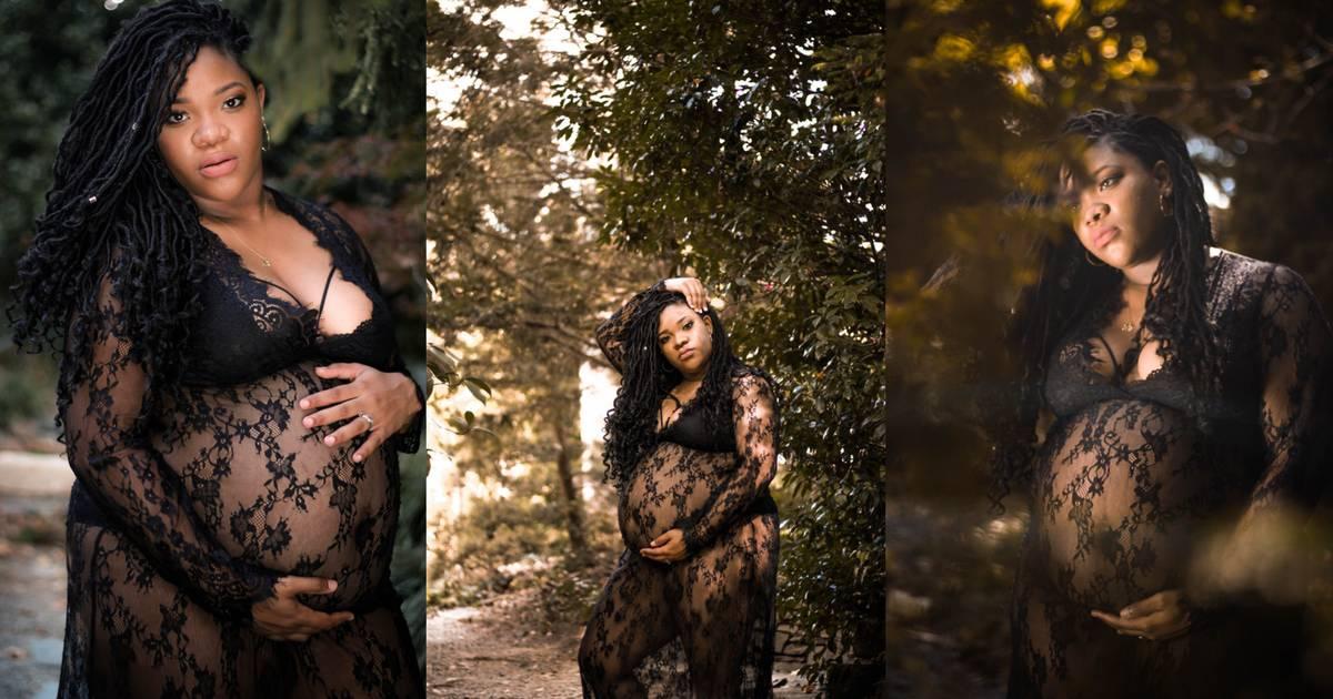 plus size pregnant woman wearing a black lace dress