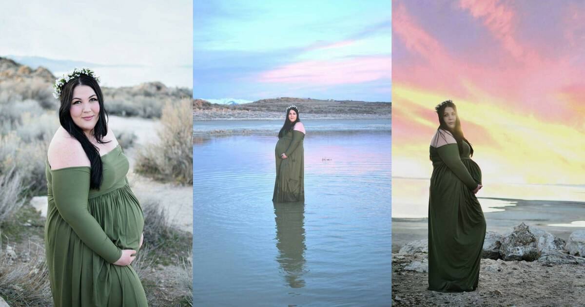 three imagines of a plus size woman pregnant wearing a long green dress