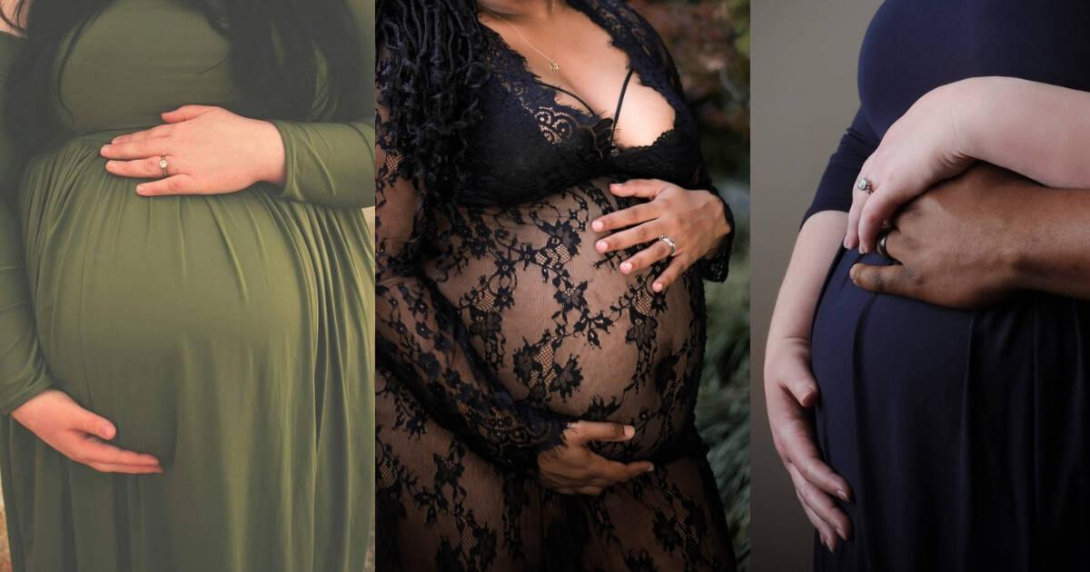 three plus size pregnant bellies