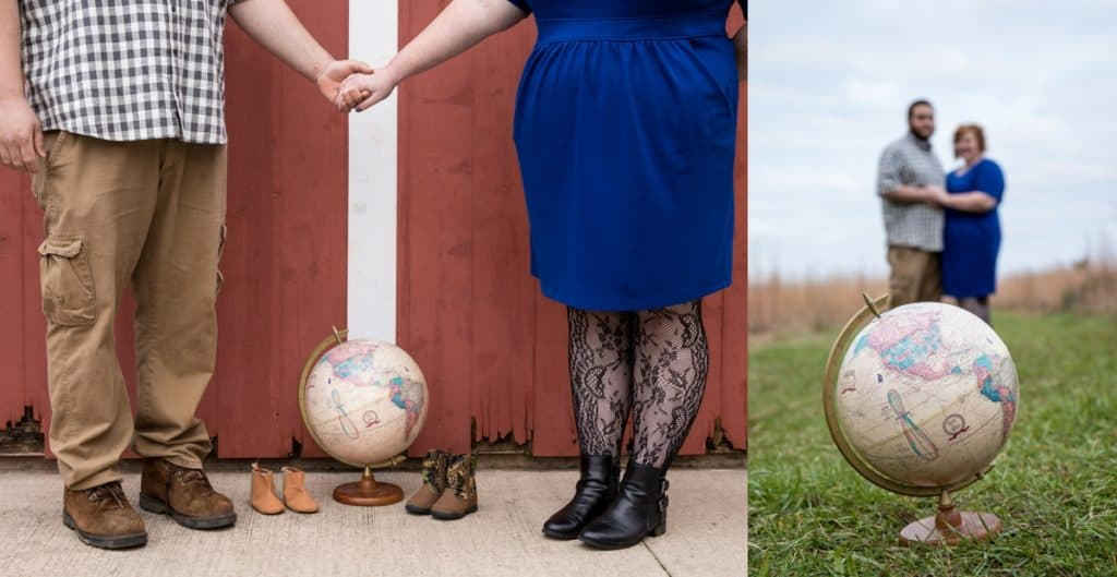 Adoption photos with a globe, baby shoes, and adoptive parents