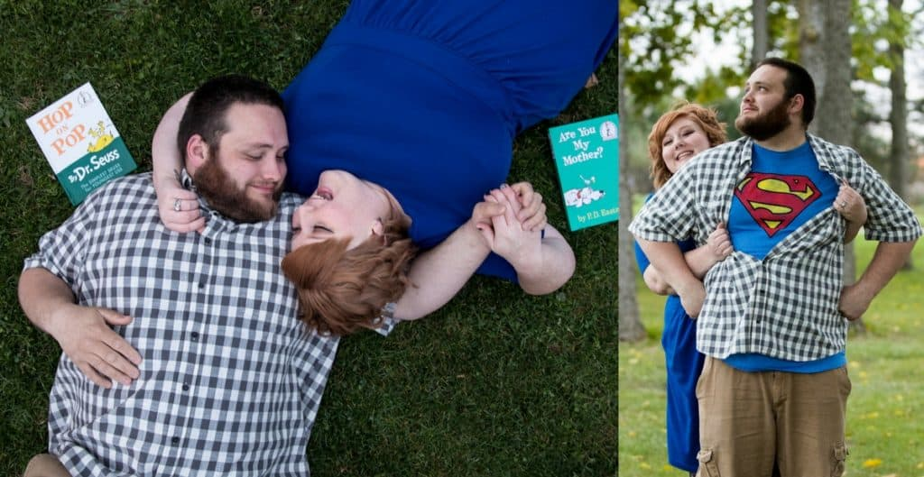 two people taking adoption photos