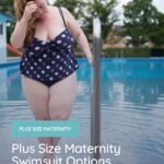 plus size woman walking out of the pool with a plus size maternity swimsuit