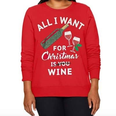 All I Want For Christmas Is Wine Plus Size Sweatshirt