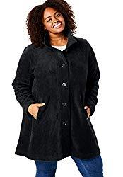 black plus size fleece coat