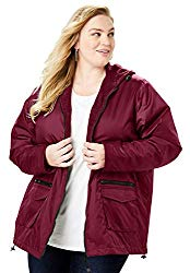 plus size hooded jacket with fleece lining