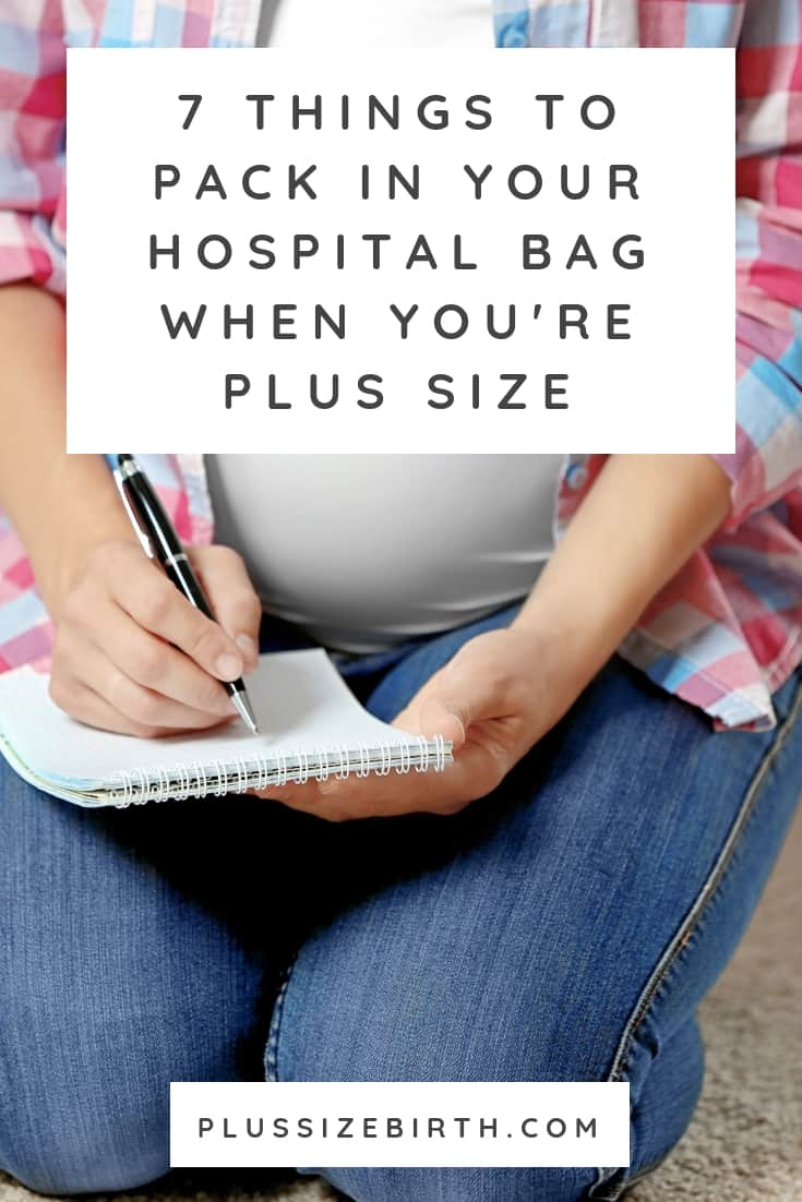 plus size pregnant woman packing her hospital bag