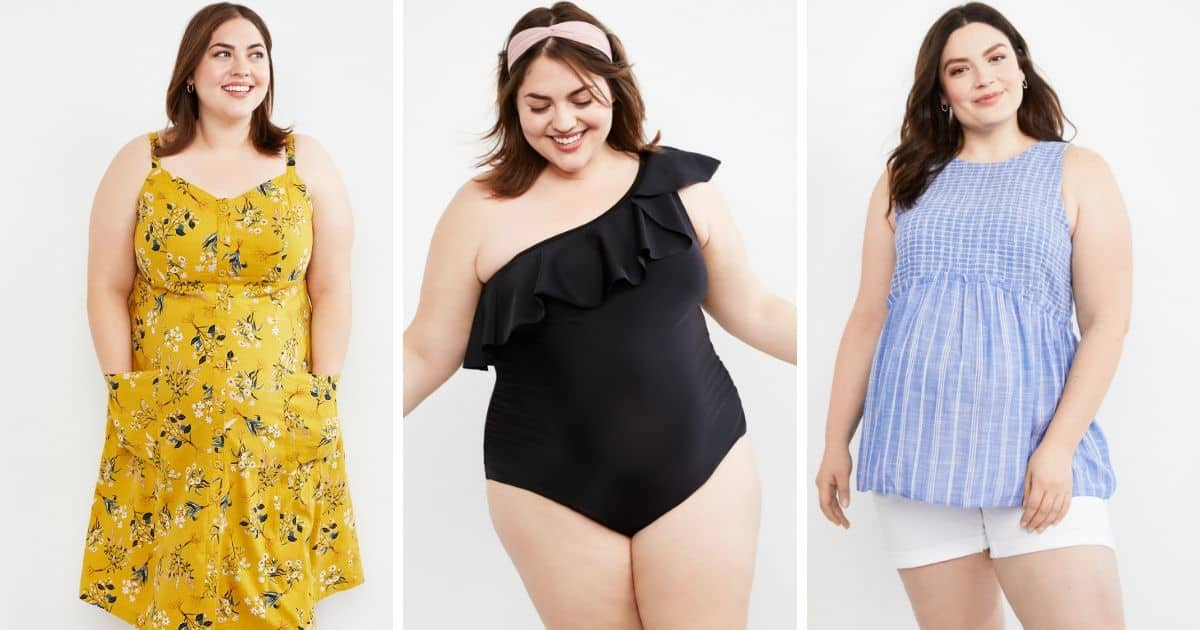 three women wearing plus size maternity clothes from Motherhood Maternity