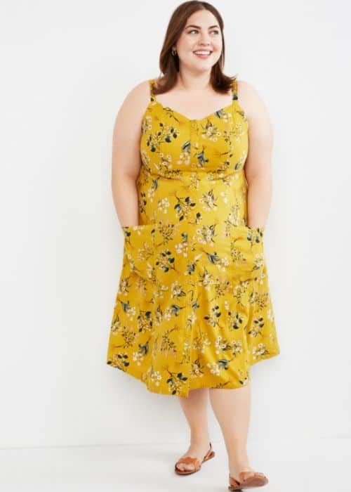 plus size button front maternity dress