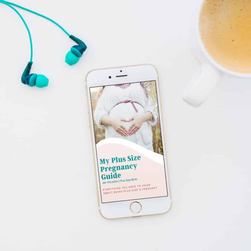 My Plus Size Pregnancy Guide headphones and coffee