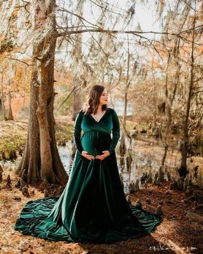 Plus Size Velvet Maternity Dress