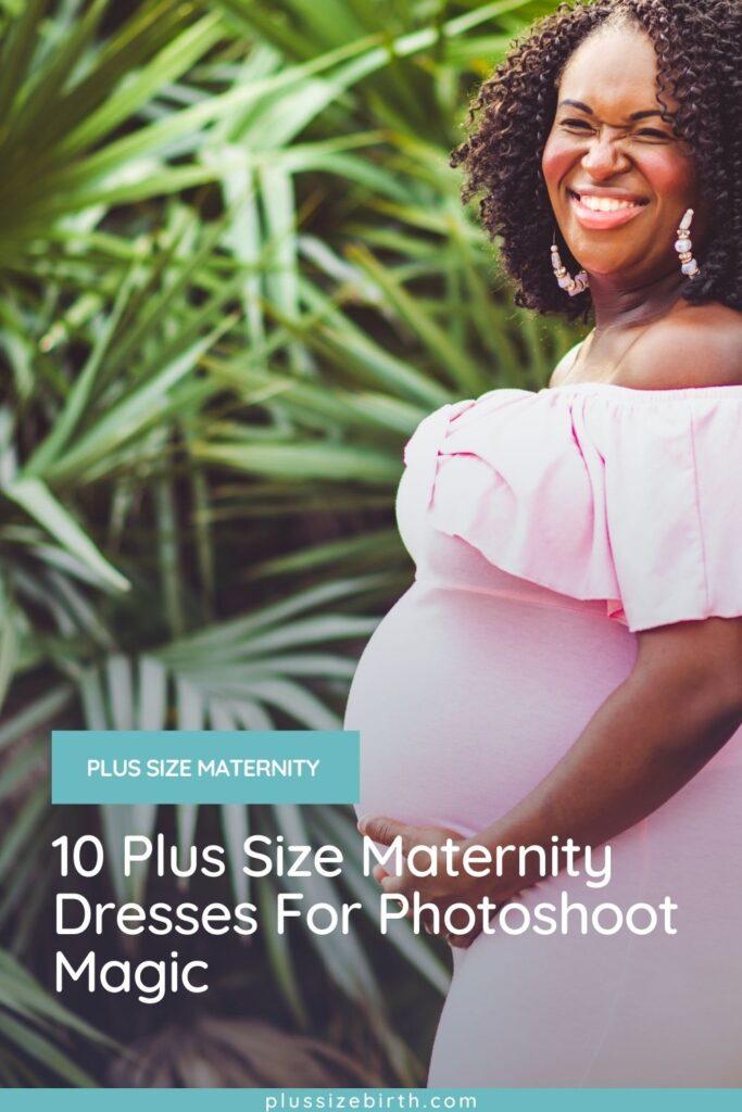 plus size woman wearing a pink plus size maternity dress
