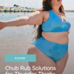 plus size woman with chub rub on the beach
