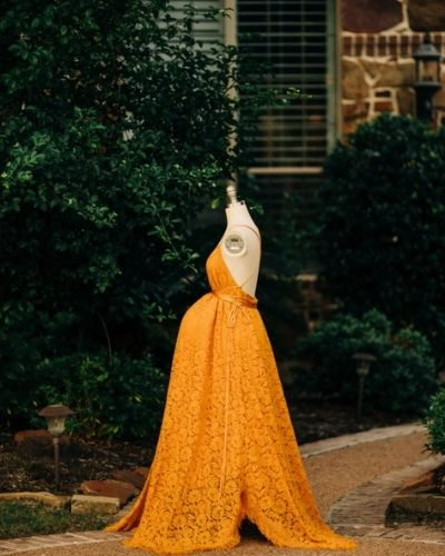 Mustard color Lace Plus Size Maternity Dress