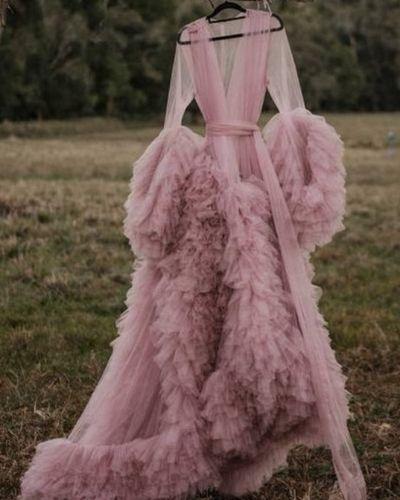 pink Plus Size Boudoir Maternity Dress