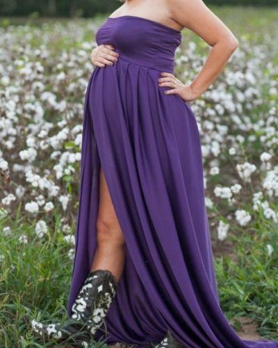 purple Plus Size Sweetheart Open Belly Maternity Dress