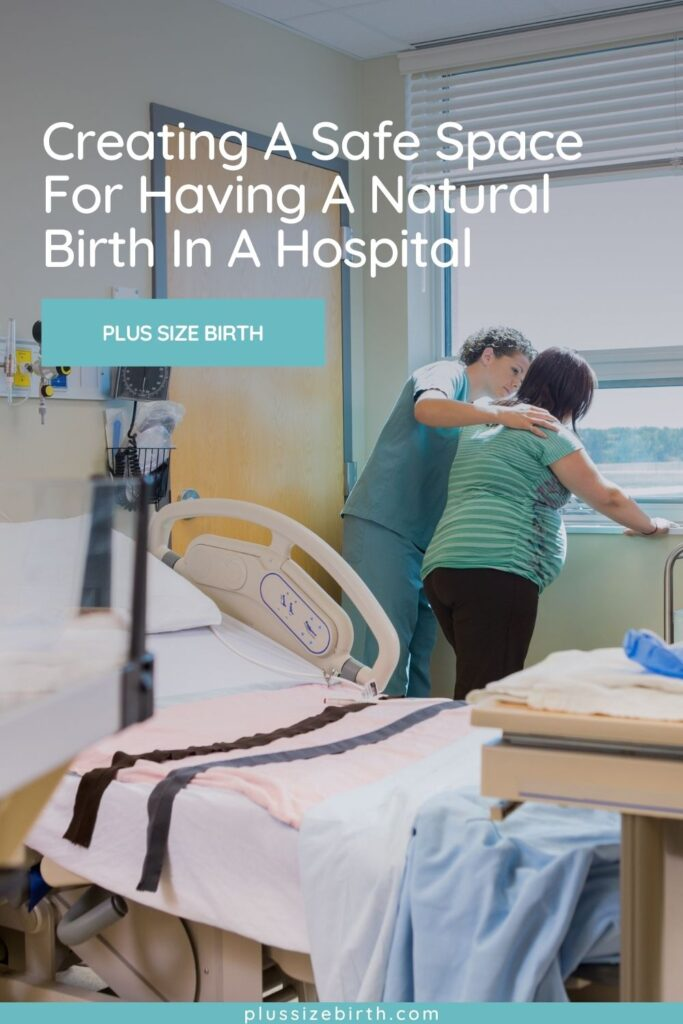plus size woman having a natural birth in a hospital