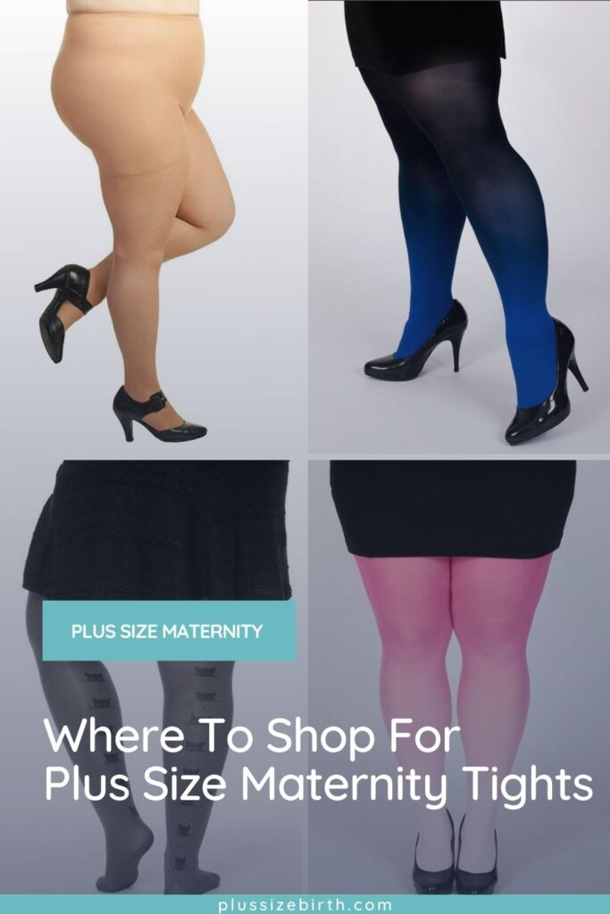 four different plus size maternity tights