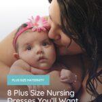 plus size woman wearing a plus size nursing dress