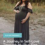 plus size pregnant woman wearing green dress