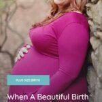 plus size pregnant woman wearing pink plus size maternity dress