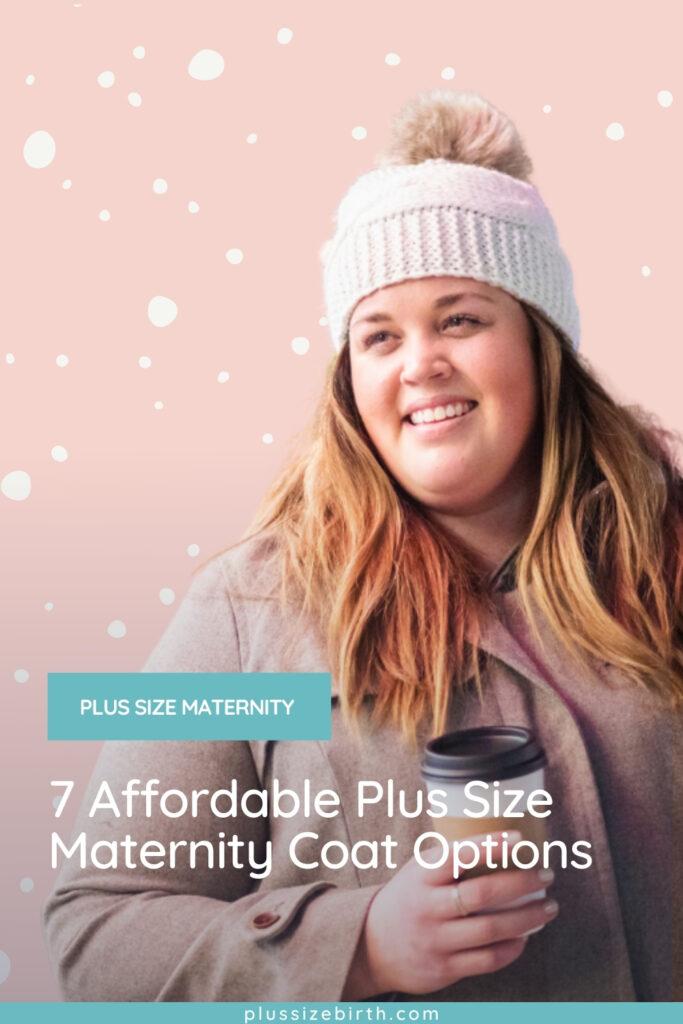 plus size woman wearing a plus size maternity coat