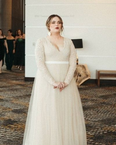 Champagne Tulle Plus Size Wedding Dress
