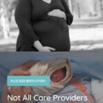 plus size pregnant woman and a plus size woman after having a c-section