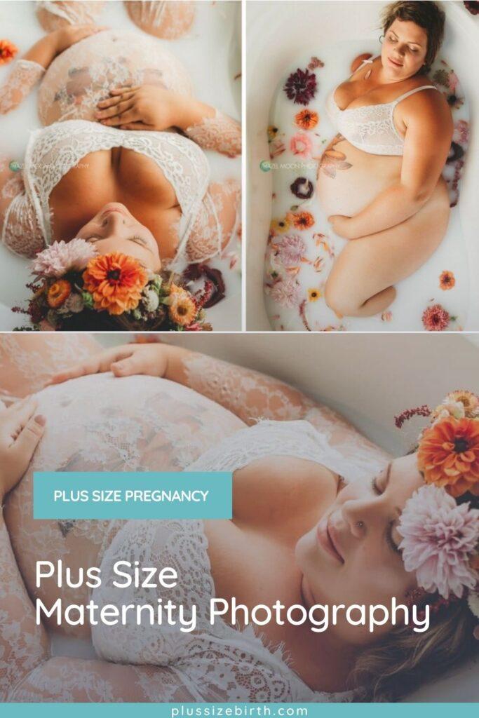 plus size pregnant woman wearing a white lace dress