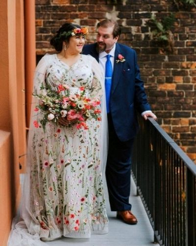 White Plus Size Wedding Dress with Flowers
