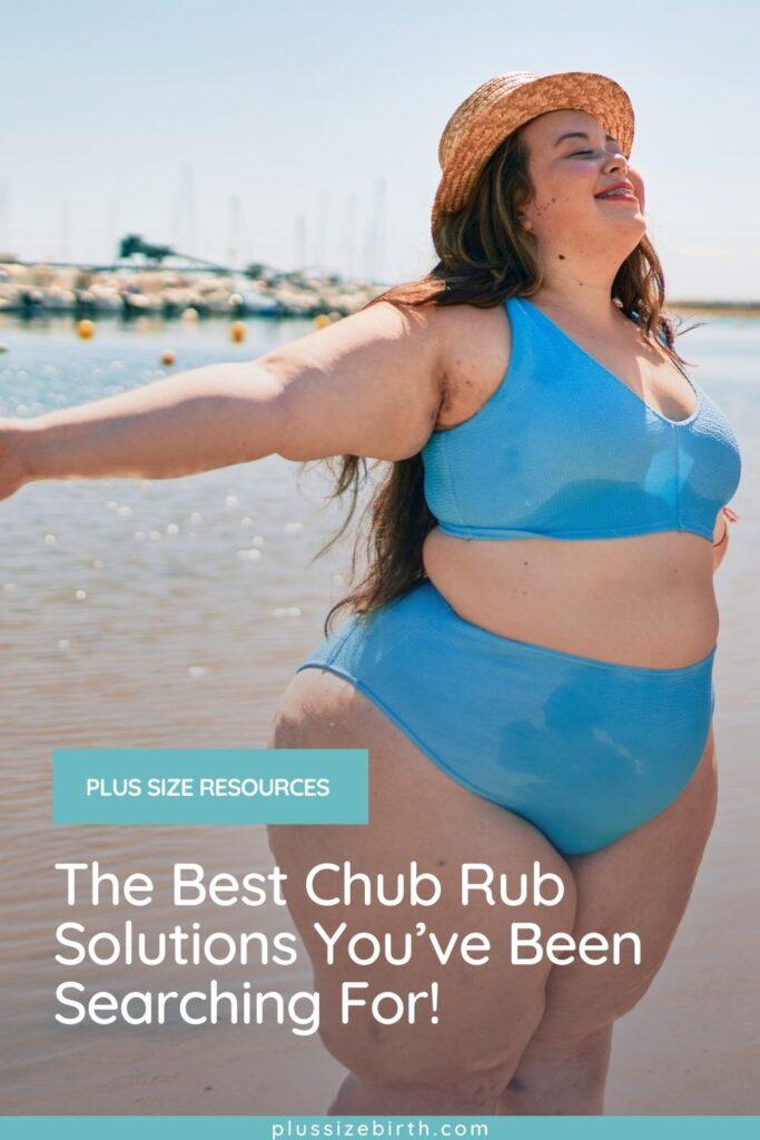 plus size woman wearing a blue bikini