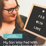 plus size woman holding fed with love sign
