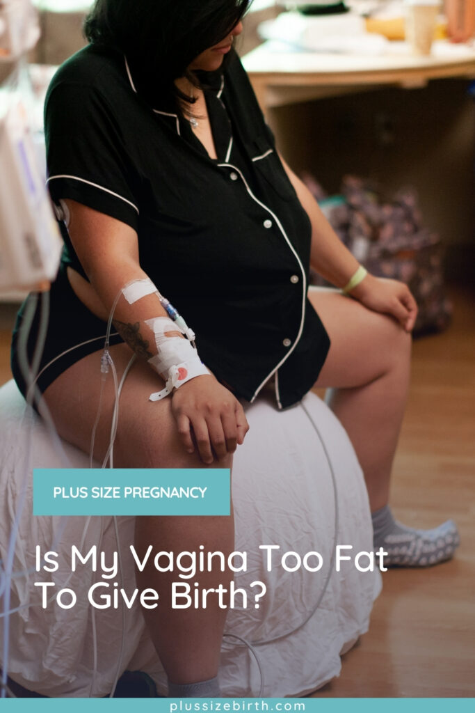 plus size woman in labor sitting on a birth ball in a hospital